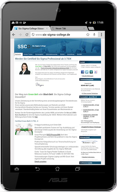 Six Sigma College Düsseldorf SSCD - Tablet